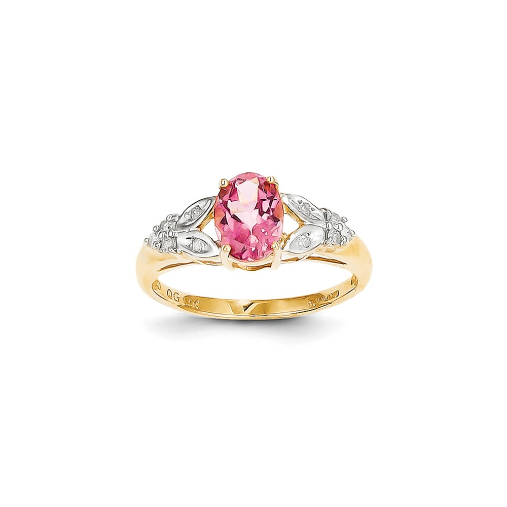 14K Yellow Gold (0.08cttw) Pink Tourmaline and Diamond Ring Size-7 by