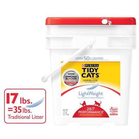 Tidy Cats LightWeight 24/7 Performance for Multiple Cats Clumping Dust Free Cat Litter - 17 lb. - Flat Lifter