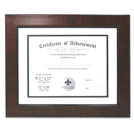 Dual Use Mahogany Faux Burl 11x14 Certificate Picture Frame with Double Bevel Cut Matting for 8.5x11 Document ()
