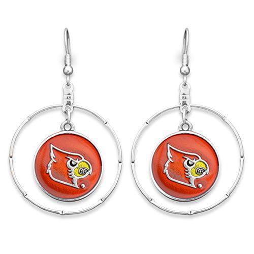 Louisville Cardinals Fishhook Earrings Round Team Logo Charm Inside Ring