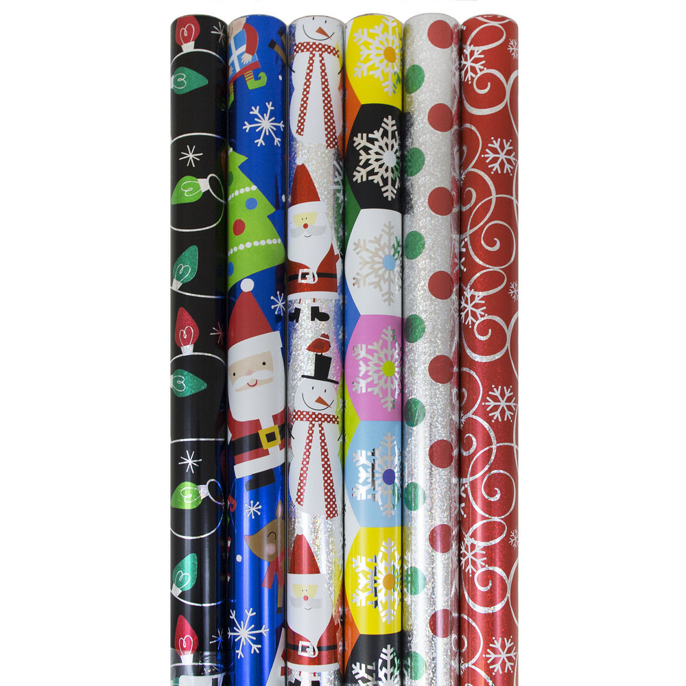 JAM Paper Christmas Gift Wrapping Paper Set, Assorted Rolls of Holiday Wrapping Paper, 6pk