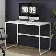 Nathan James Penny White Writing Desk with Sleek Curved Metal Desk Frame for Home or Office
