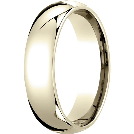 Mens 14K Yellow Gold, 6mm Slim Profile Comfort-Fit Wedding Band 14k Gents Wedding Band