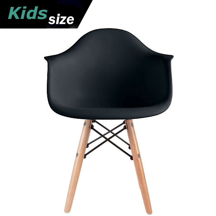 2xhome - Kids Size Black Modern Plastic Chairs With Wood Leg Armchairs