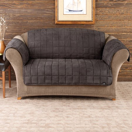 Sure Fit Quilted Velvet Deluxe Loveseat Pet Throw, Mini Check