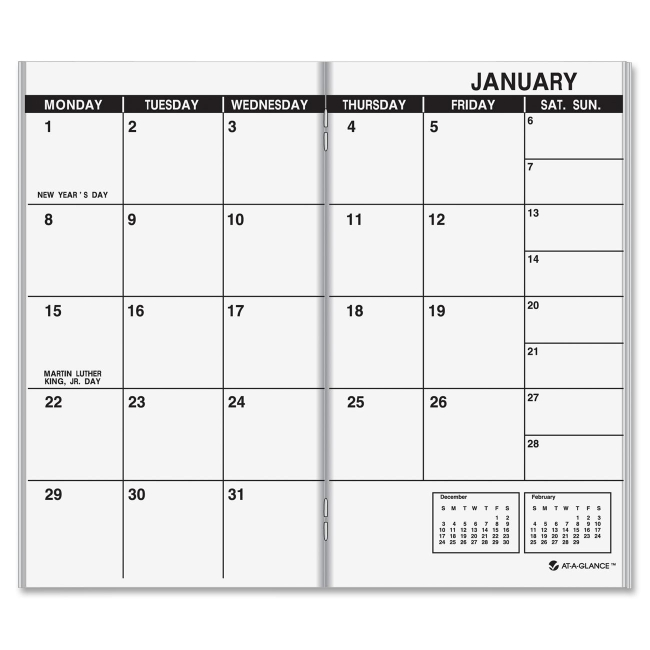 "At-A-Glance Dated Monthly Appointment Book Refill - Monthly - 1.1 Year - January till January - 1 Month Double Page Layout - 3.50"" x 6.12"" - White"