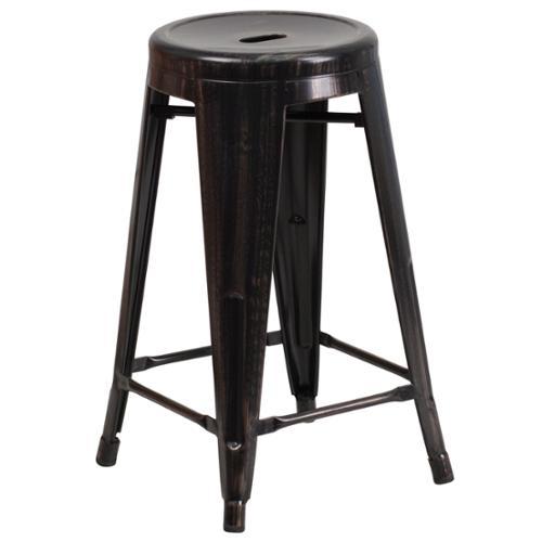 Flash Furniture 24 Inch High Backless Metal Indoor Outdoor