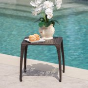 """Outdoor 18"""" Finished Cast Aluminum Side Table, Bronze"""
