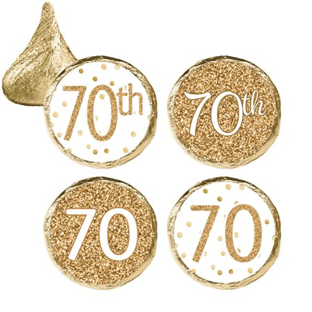 Cheap 70th Birthday Invitations (70th Birthday Party Favor Stickers, 324ct - Adult Birthday Party Supplies White and Gold 70th Birthday Candy Decorations Favors - 324 Count)
