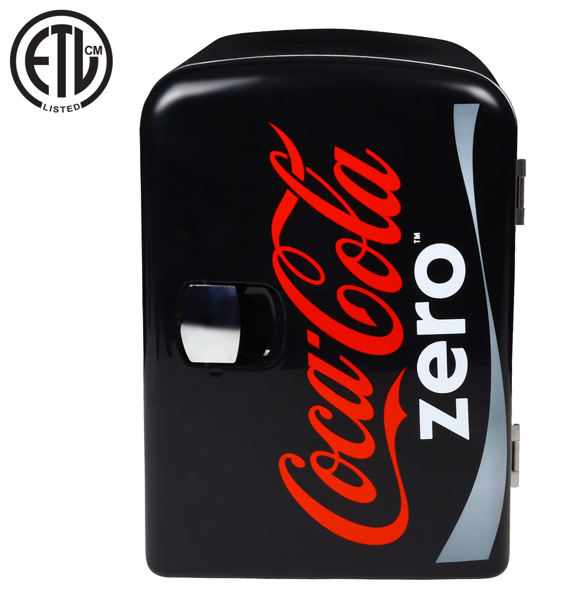 Coca-Cola Zero 4 Liter/6 Can Portable Fridge/Mini Cooler for Food, Beverages, Skincare - Use at Home, Office, Dorm, Car, Boat - AC & DC Plugs Included