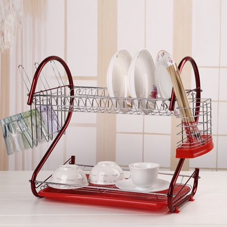 2 Level Dish Cup Drying Rack Drainer Organizer Holds Up To