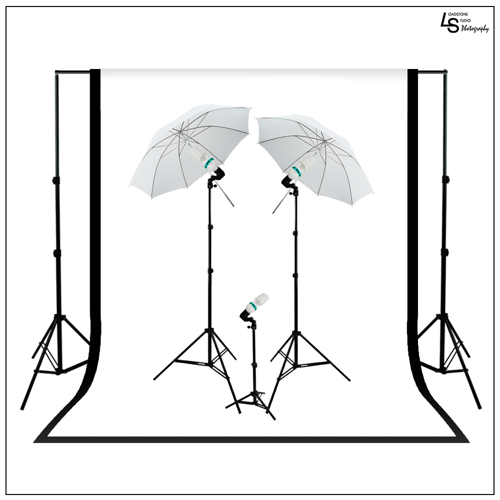 Continuous Lighting Kit with Background Support System, F...