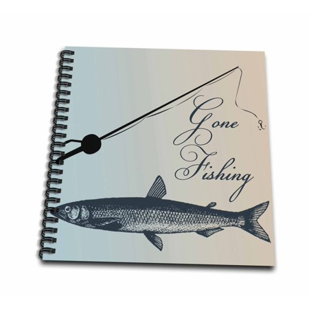 3dRose Gone Fishing Fish with Pole- Beach Theme Art - Mini Notepad, 4 by 4-inch