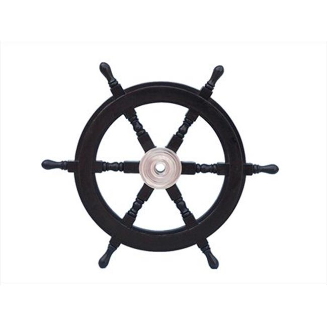 Handcrafted Model Ships SW24CH-Black Deluxe Class Wood and Chrome Pirate Ship Steering Wheel 24 in. Decorative Accent