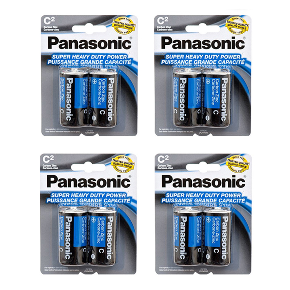 8 X Panasonic C Batteries Super Heavy Duty Carbon Zinc Battery 1.5V EXP. 2022