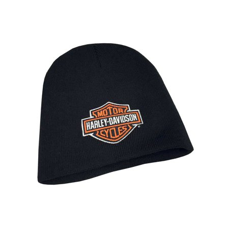 - Mens Embroidered Bar & Shield Knit Beanie Cap, Black KNCUS020130, Harley Davidson
