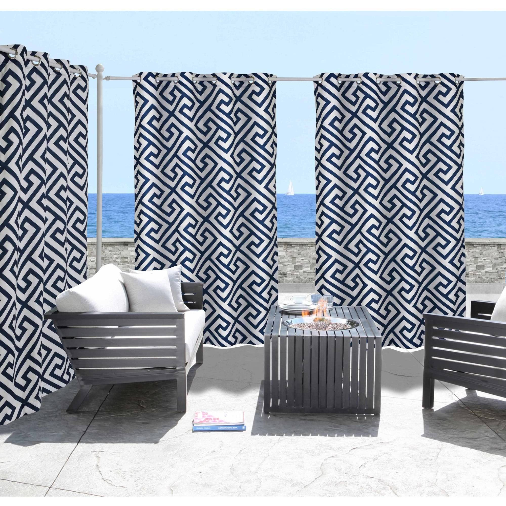 Greek Key Indoor/Outdoor Grommet Panel