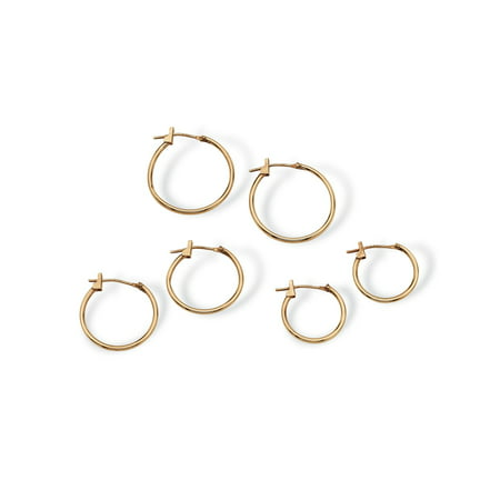 "Three-Pair Set of Hoop Earrings in 10k Gold (5/8"", 3/4"", 7/8"")"