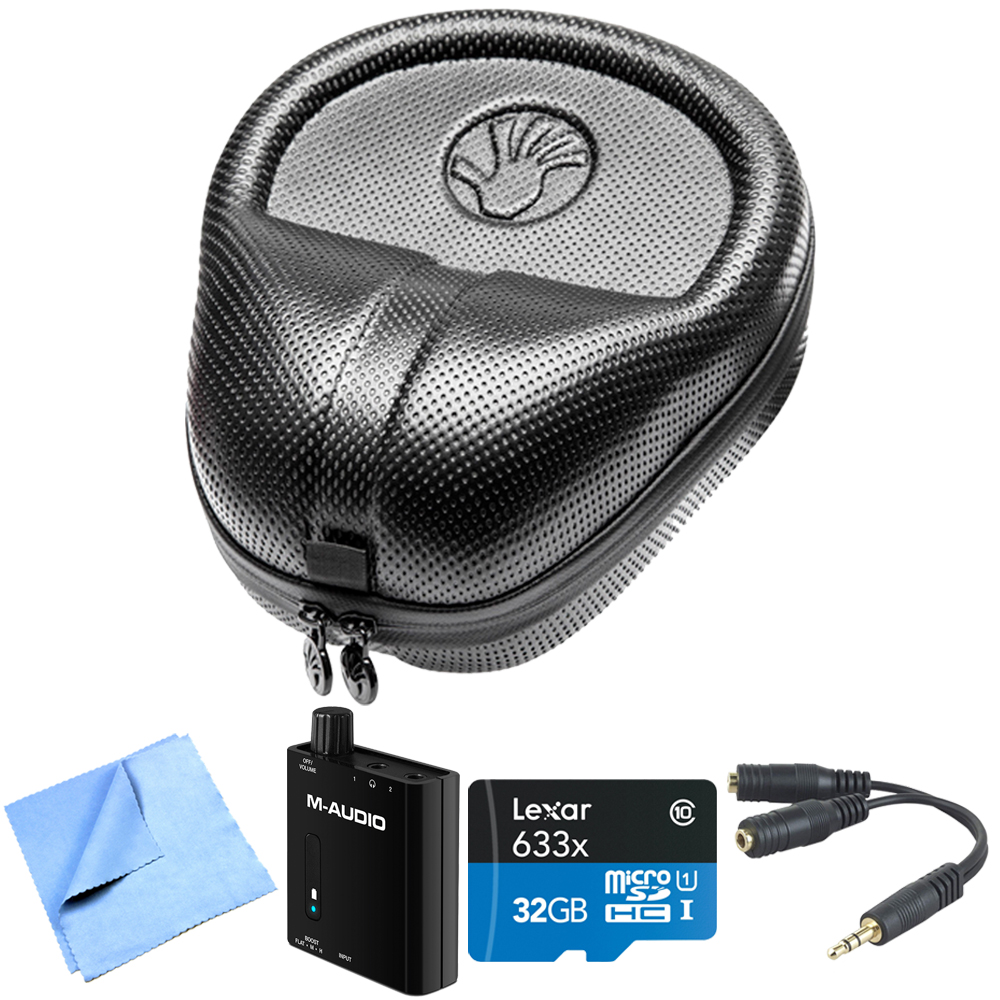 Slappa (SL-HP-07) HardBody PRO Full Sized Headphone Case - Black w/ Bundle Includes, M-Audio Bass Port.Headphone Amp, Lexar 32GB microSDHC Card,Belkin Speaker & Headphone Splitter & Micro Fiber Cloth