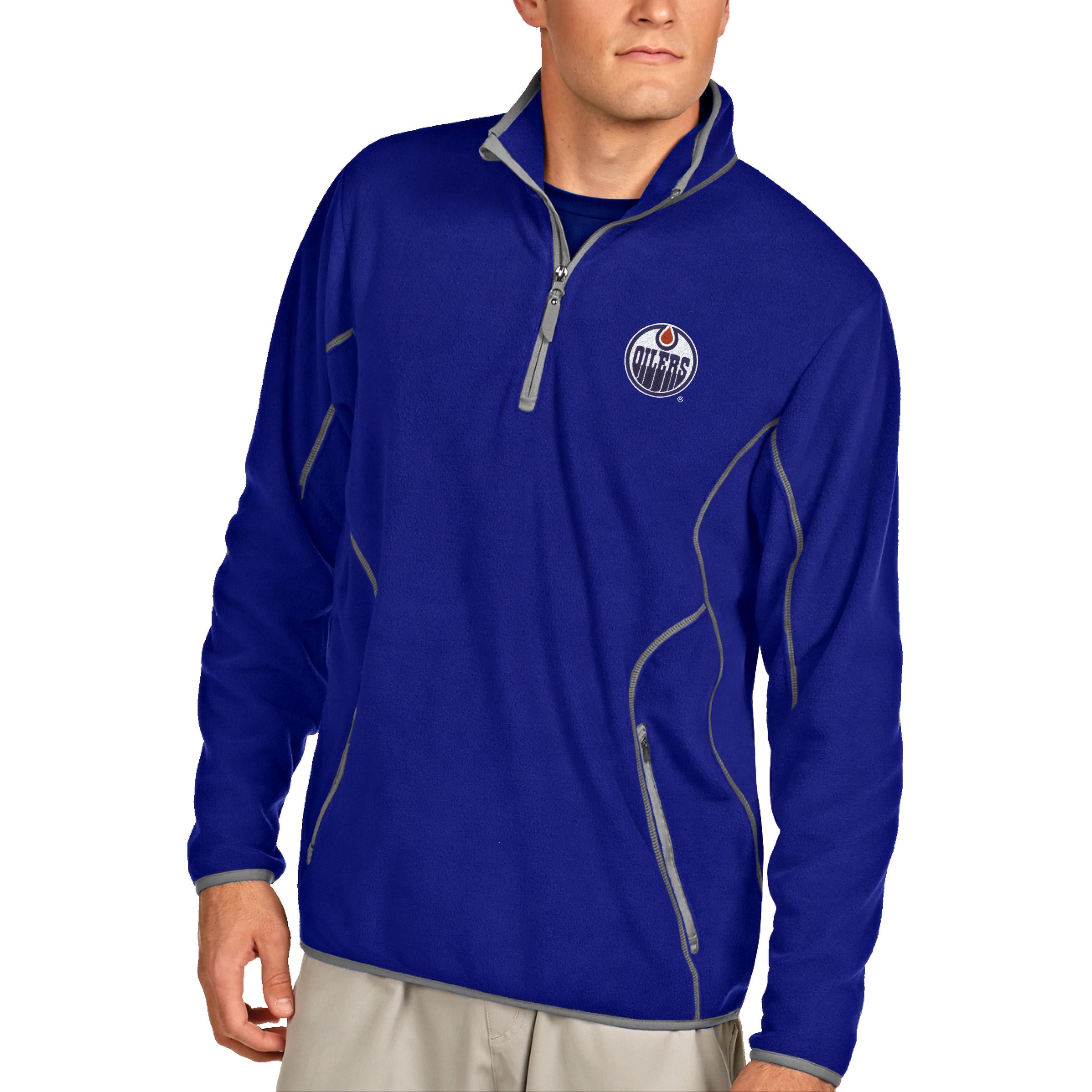 Edmonton Oilers Antigua Ice Pullover 1/4-Zip Jacket - Royal