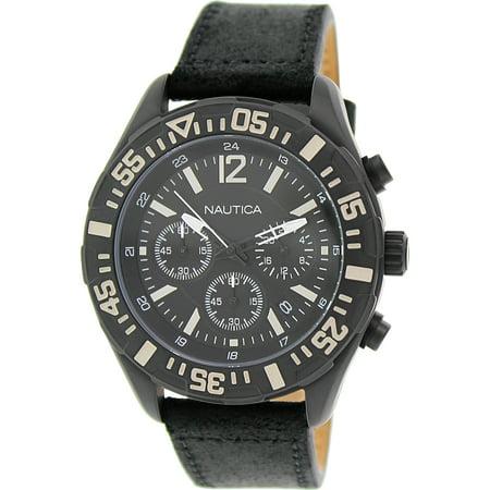 Men's Nst 402 N18721G Black Leather Quartz Watch (402 Leather)
