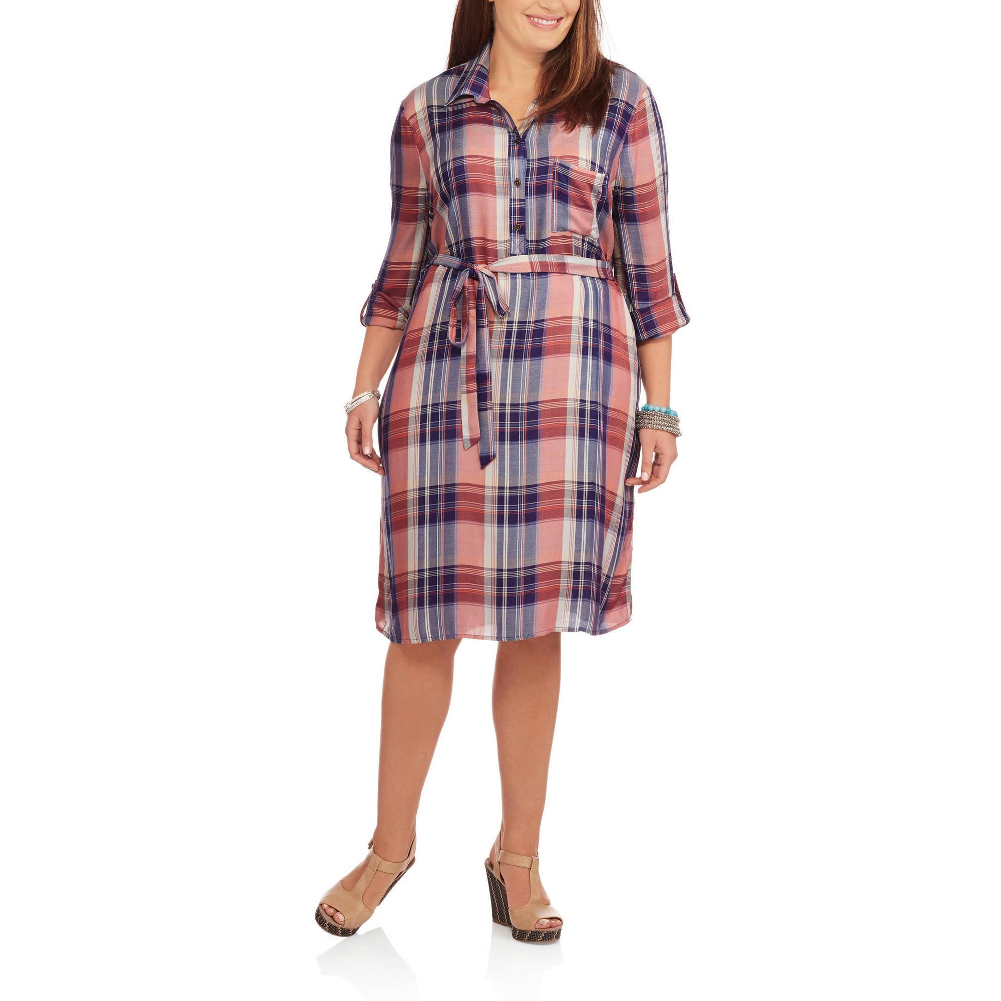 Faded Glory Women's Plus Plaid Shirt Dress