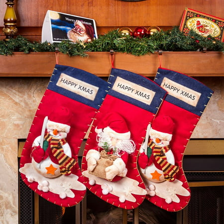 Large Christmas Stocking (3 Pc High Quality Santa Claus Christmas Stockings - 22