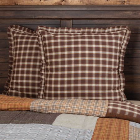 Chocolate Brown Rustic & Lodge Bedding Sheridan Rustic Brown Cotton Plaid Euro Sham ()
