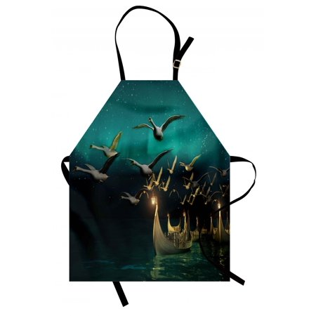 Fantasy Apron Medieval Elf Boats and Magical Birds Swans Flying Mystical Adventure Illustration, Unisex Kitchen Bib Apron with Adjustable Neck for Cooking Baking Gardening, Teal Gold, by (Mystical Boat)