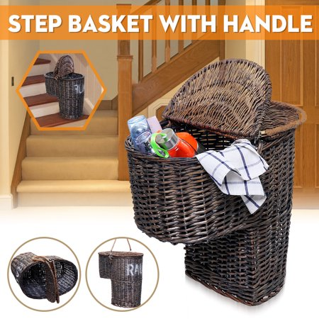 38cm Brown Wicker Handwoven Seagrass Stair Step Storage Basket Carry With Handle Stair Step Basket