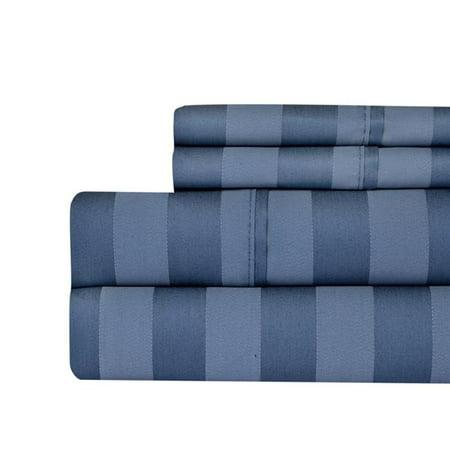 Aspire Linens 650-BLND-QN-BLU 650 Thread Count Damask Stripe Sheet Set - Queen, Blue Blue Damask Stripe