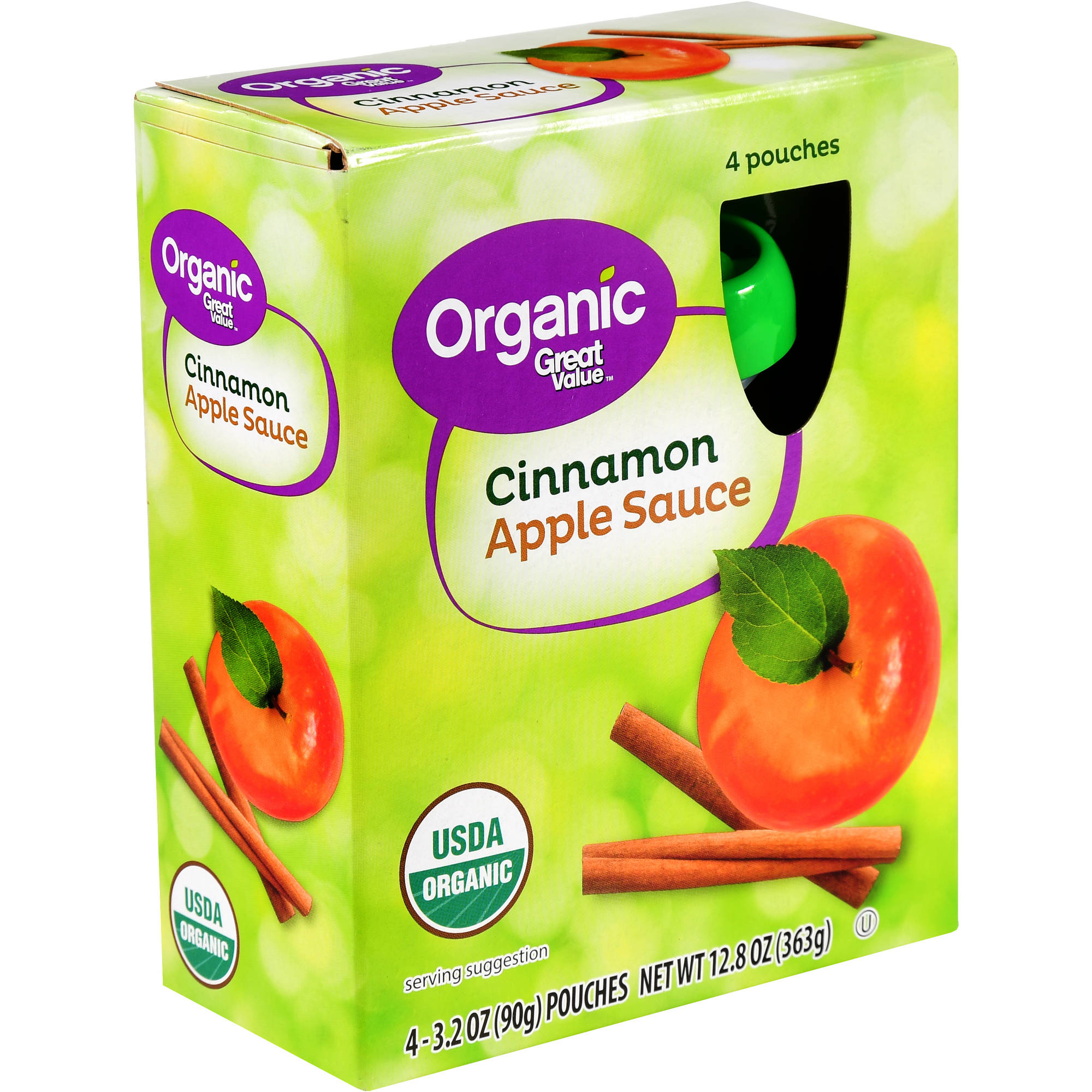 (4 Pack) Great Value Organic Applesauce Pouches, Cinnamon, 3.2 oz, 4 Count
