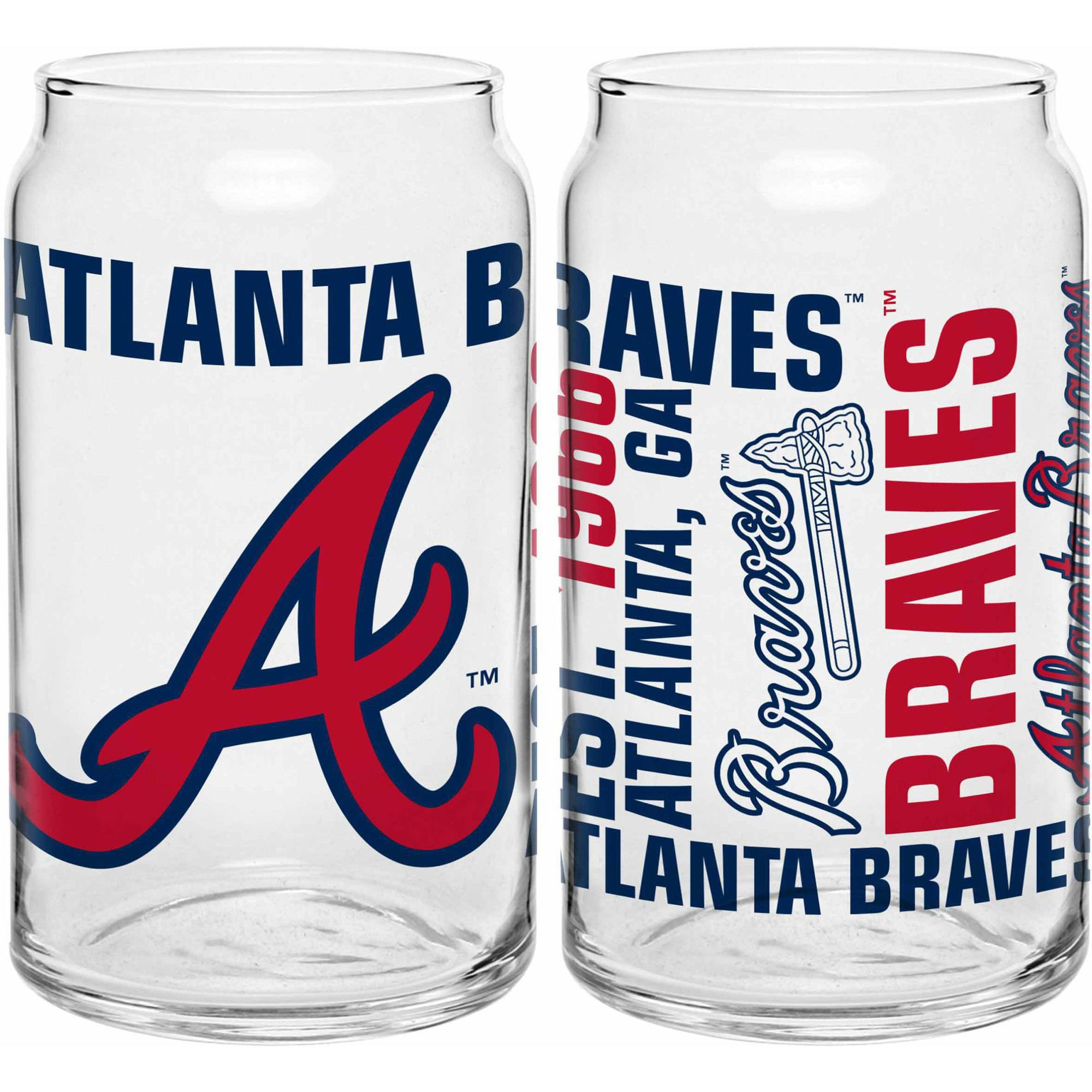 Boelter Brands MLB Set of Two 16 Ounce Spirit Glass Can Set, Atlanta Braves