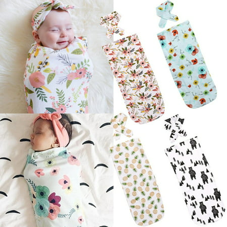 - Newborn Fashion Baby Swaddle Blanket Baby Sleeping Swaddle Muslin Wrap Headband