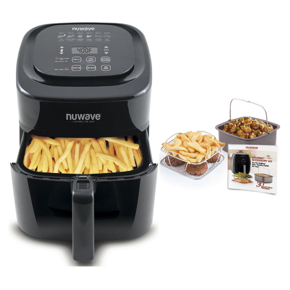 NuWave Brio Air Fryer 6 qt with 2-piece Cooking Set and Air Fryer Cookbook