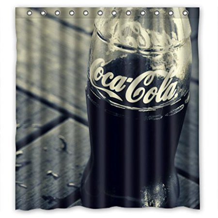 Deyou Coca Cola Drink Shower Curtain Polyester Fabric Bathroom Shower Curtain Size 66x72 Inches