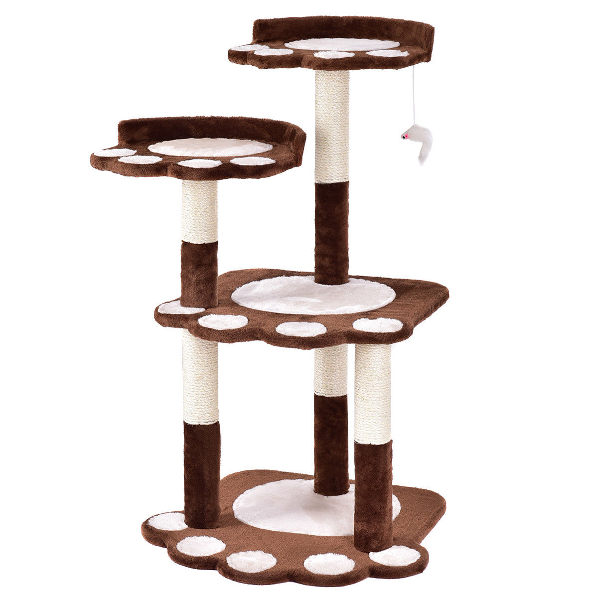Gymax 42'' Cat Tree Kitten Pet Furniture Multi-level Climb Scratching Posts Paw Brown - image 7 de 10