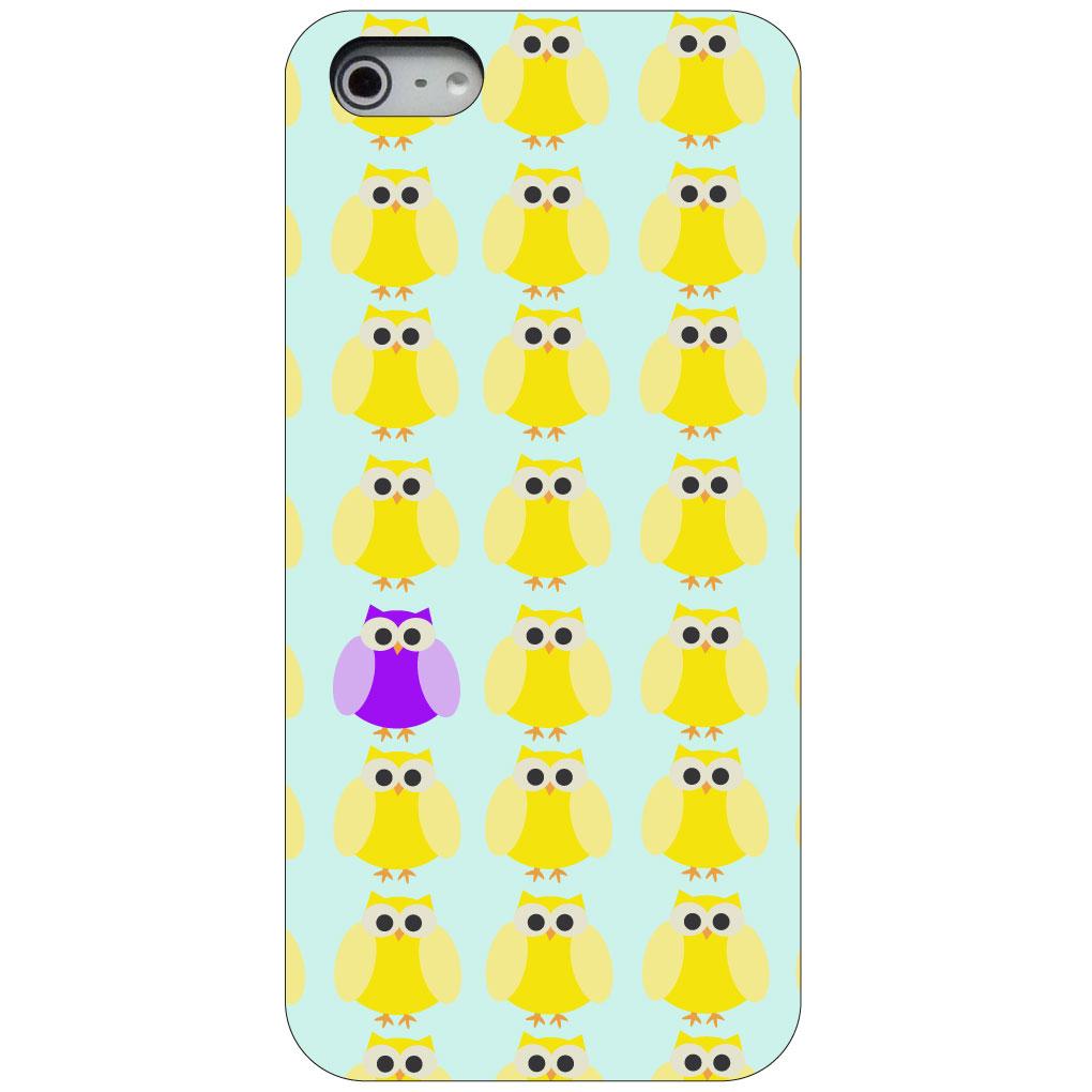 CUSTOM Black Hard Plastic Snap-On Case for Apple iPhone 5 / 5S / SE - Yellow Purple Owls Cartoon