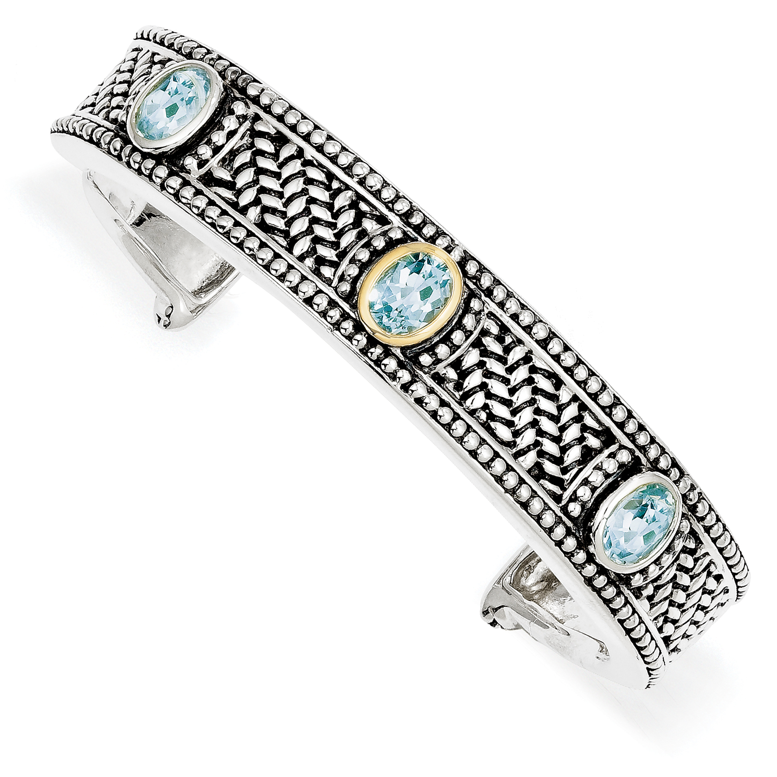 Roy Rose Jewelry Sterling Silver and 14K Gold 4.8-Carart Sky Blue Topaz Cuff Bracelet ~ Length 7'' inches by