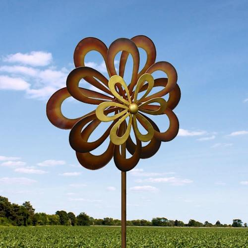 BSD National Supplies Iron Flower Spinning Windmill by Overstock