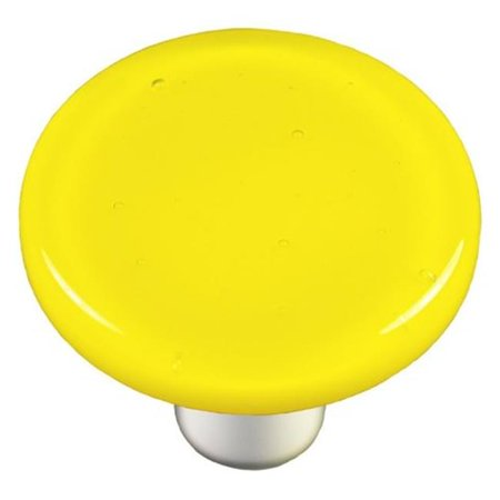 - Hot Knobs HK1010-KRB Canary Yellow Round Glass Cabinet Knob - Black Post