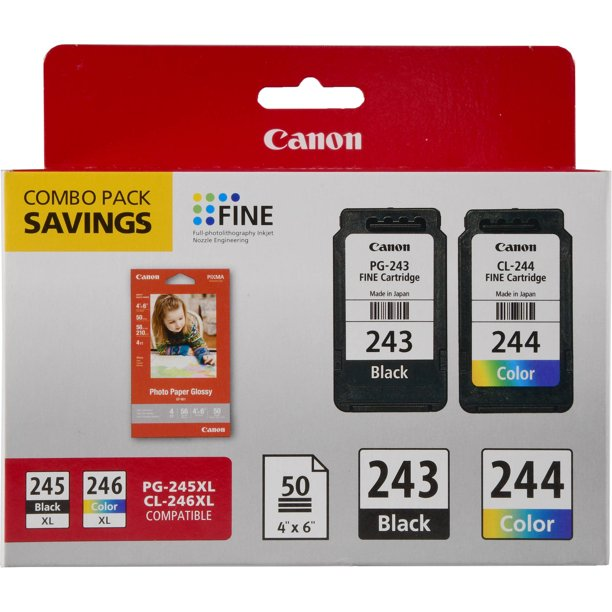 Canon PG-243/CL-244/GP-601 Ink & Photo Paper Combo Pack, Black/Tri-Color - Walmart.com - Walmart.com