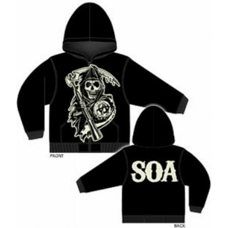 Sons of Anarchy Large Muted Grim Reaper Full Zip Hoodie Sweatshirt