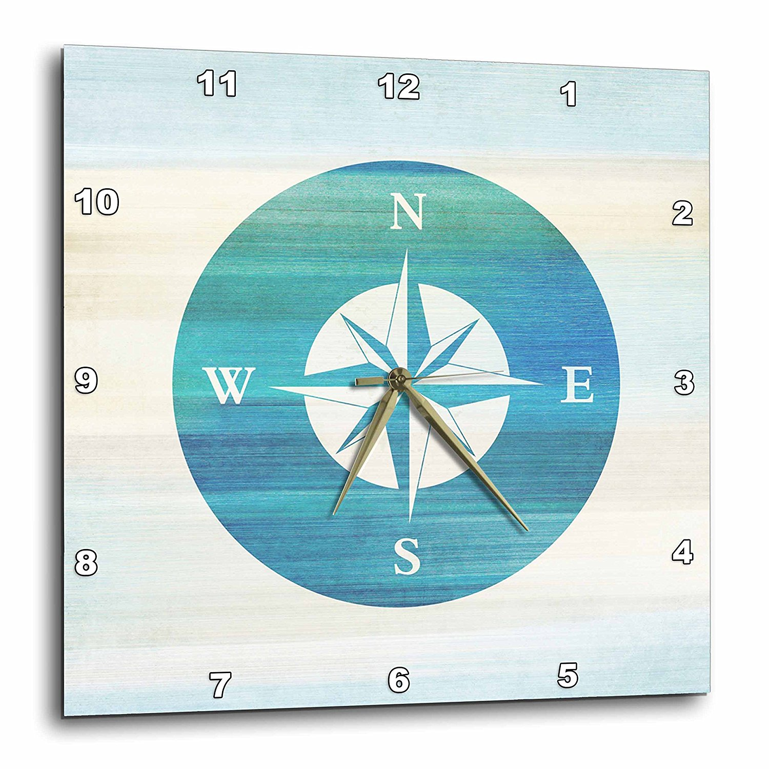 3dRose Aqua Nautical Compass beach theme art, Wall Clock, 13 by 13-inch