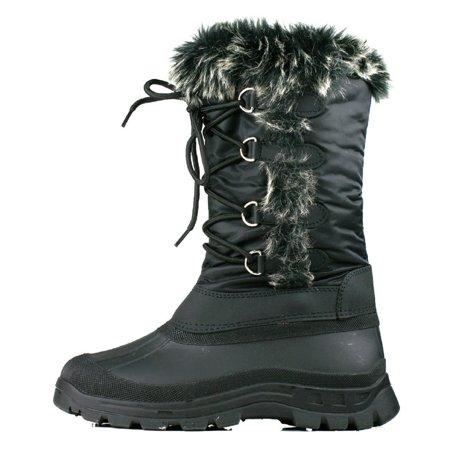 OwnShoe Women's Lace Up Faux Fur Rubber Duck Snow Boots