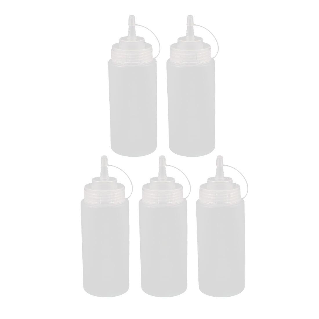 5Pcs 400ml 16oz Kitchen Food Squeeze Bottles Condiment Ketchup Mustard Oil Clear by Unique-Bargains
