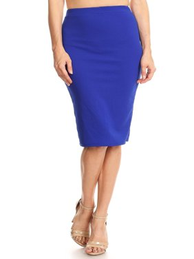 MOA COLLECTION Women's Women's Solid Basic Casual Knee High Waist Stretch Bodycon Pencil Skirt