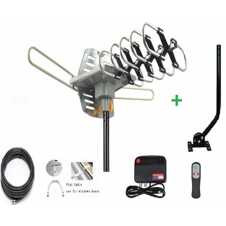 HDTV Antenna Digital Amplified Outdoor Antenna with Mounting Pole-150 Miles Range 360 Degree Rotation Wireless Remote Support 2 TVs UHF/VHF 4K 1080P Channels Reception, 33ft