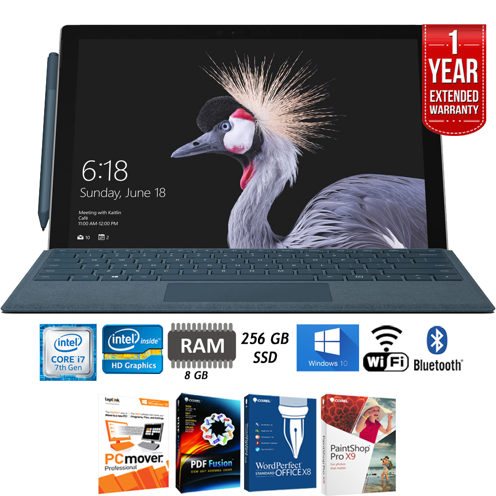 Microsoft Surface Pro (Intel Core i7, 8GB RAM, 256GB) FJZ-00001 + Elite Suite 17 Standard Software Bundle (Corel WordPerfect, PC Mover, PDF Fusion, X9) + 1 Year Extended Warranty