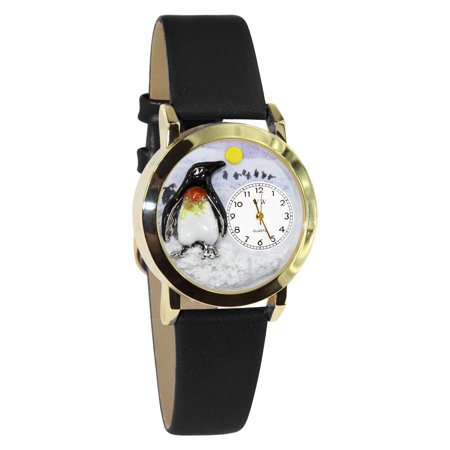 Whimsical Watches Kids C0140010 Classic Gold Penguin Black Leather And Goldtone Watch